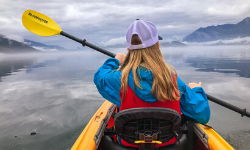 young girl kayaking on harrison lake