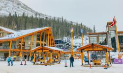 snow covered ski village in banff