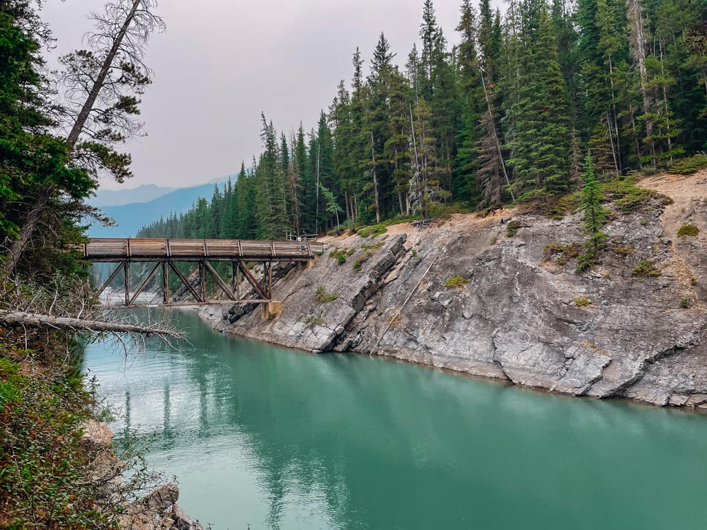 view of a river and a bridge in banff