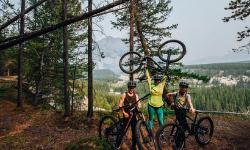 family biking in banff