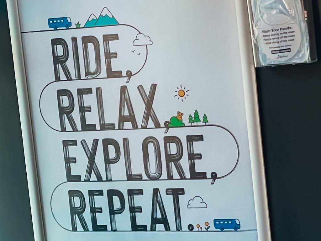 sign in a roam transit bus in banff