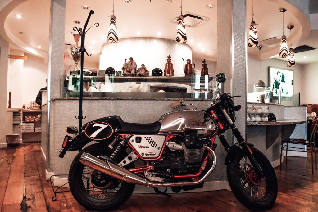 motorcycle decor inside Pulcinella restaurant in calgary