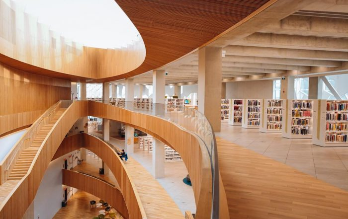 inside view of the center of the calgary central library