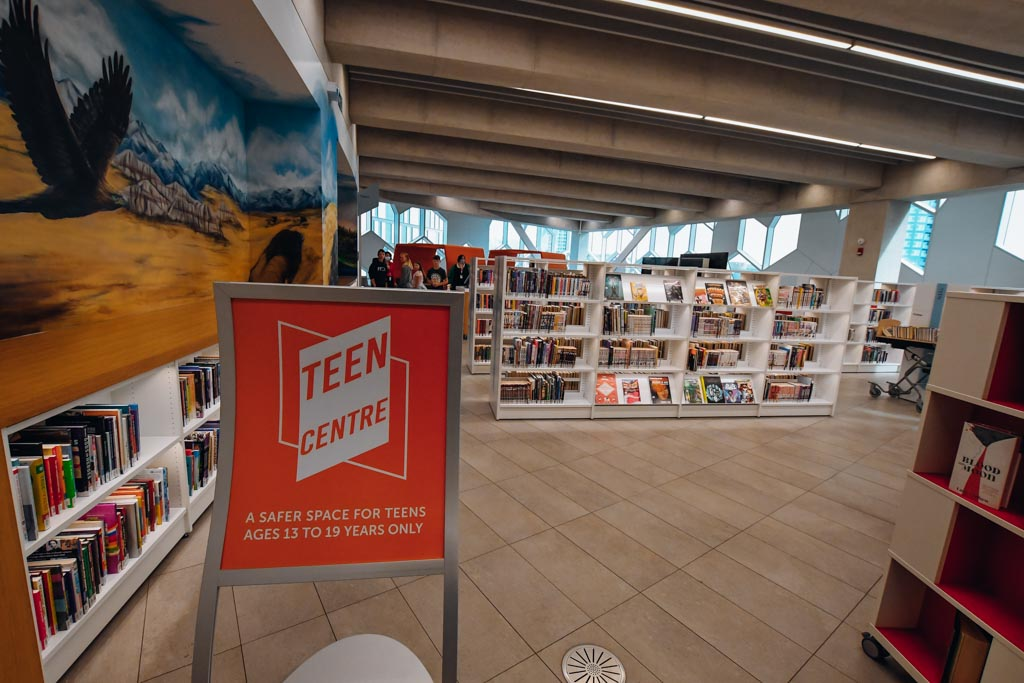 looking into the teens only section at the calgary central library