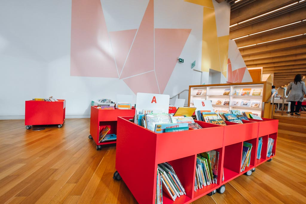 toddler height bookshelves at the calgary central library