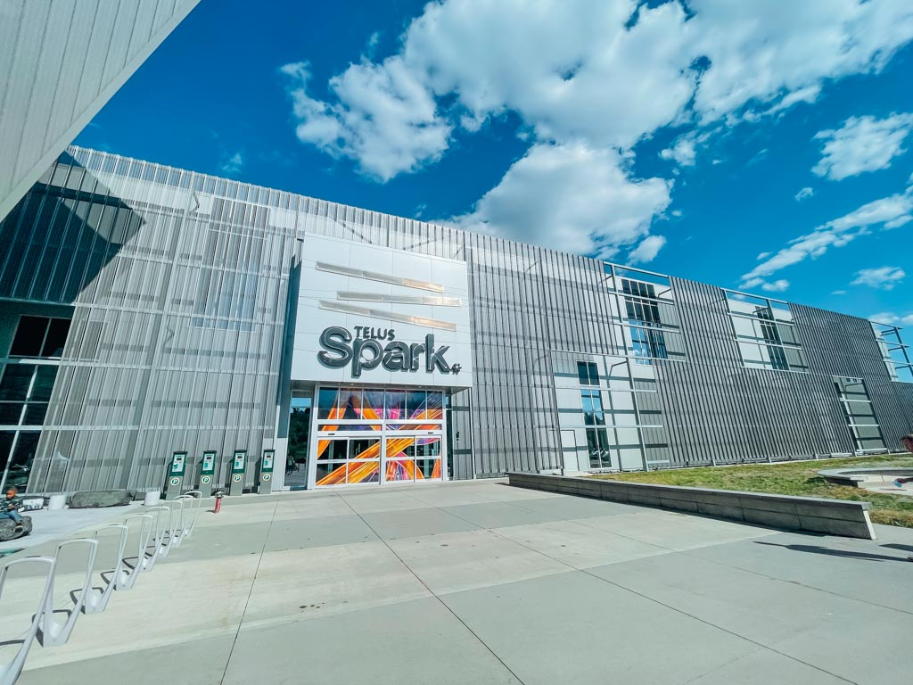 view of outside entrance at telus spark centre in calgary