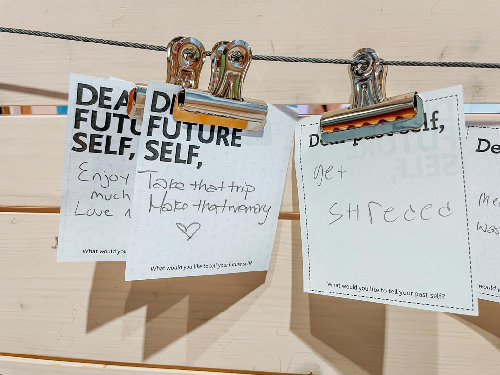 dear future self notes hanging on a clip