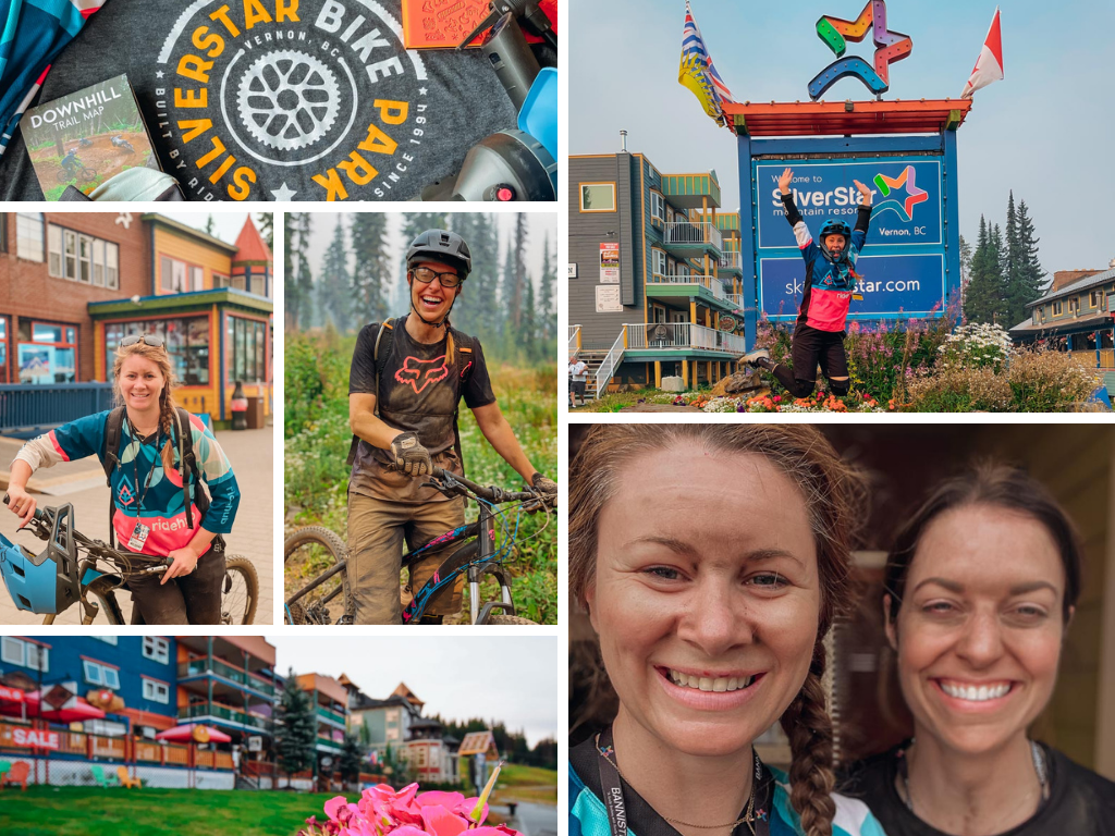 collage of photos of women at a mountain biking camp